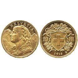 Switzerland, 20 francs, 1913-B.