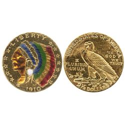 USA (Philadelphia mint), $2-1/2 Indian head, 1910, with color enameling on obverse.