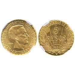 Uruguay (struck in Paris), 5 pesos, 1930, Artigas centennial, encapsulated NGC MS 64.