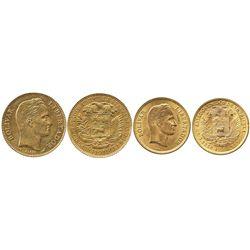 Lot of 2 Venezuela gold coins: (20 bolivares), 1911; and (10 bolivares), 1930.