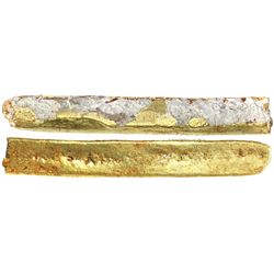 """Gold """"finger"""" bar, 515 grams, marked with fineness XIV+ (19K+), from the """"Golden Fleece wreck"""" (ca."""