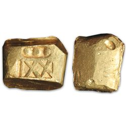 """Small, coin-like cut piece of a gold """"finger"""" bar, 28.5 grams, marked with fineness XXI and three do"""