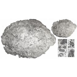 """Large """"tumbaga"""" silver """"torta"""" (oval patty) #M-158, 23 lb av, marked with assayer/owner B~Vo, R C an"""