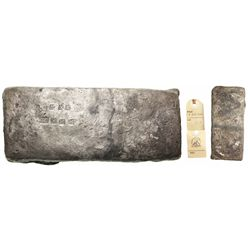 """Small, thick, brick-like """"tumbaga"""" silver bar #1128, marked with assayer/owner B~Vo 5lb"""
