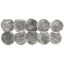 Lot of 5 Mexico City, Mexico, cob 4 reales, Philip II, assayers O or F (where visible).