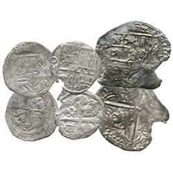 Lot of 3 silver cobs: two Mexico City, Mexico, cob 1R, Philip II and III, dates and assayers not vis