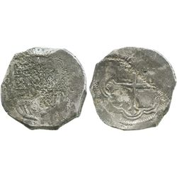 Mexico City, Mexico, cob 8 reales, Philip III, assayer not visible, Grade-2 quality but Grade 3 on c