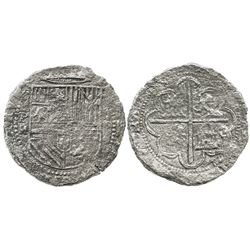 Potosi, Bolivia, cob 8 reales, Philip II, assayer M, very rare second assayer of mint, Grade 2, with