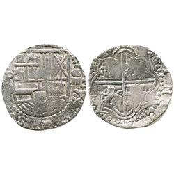 Potosi, Bolivia, cob 8 reales, Philip II, assayer B (5th period), Grade-1 quality but Grade 2 on the