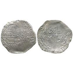 Potosi, Bolivia, cob 8 reales, Philip III, assayer Q, Grade-1 quality but no Grade on certificate.