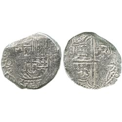 Potosi, Bolivia, cob 8 reales, Philip III, assayer Q, Grade 2.