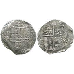 Potosi, Bolivia, cob 8 reales, Philip III, assayer M/Q, Grade 2.