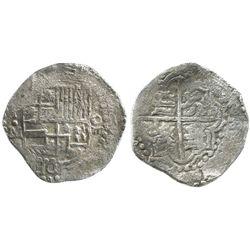 Potosi, Bolivia, cob 8 reales, Philip III, assayer M, Grade 1.