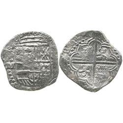 Potosi, Bolivia, cob 8 reales, Philip III, assayer M, Grade 3 (Grade-2 quality).