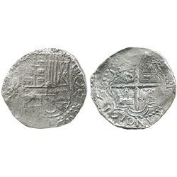 Potosi, Bolivia, cob 8 reales, 1617M, bold date at 7 o'clock, quadrants of cross transposed, Grade 1