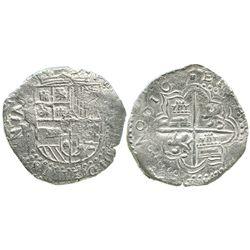 Potosi, Bolivia, cob 8 reales, 161(7)M, Grade 1.