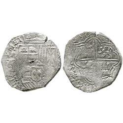 Potosi, Bolivia, cob 8 reales, 1618T/PAL, Grade 1, very rare.