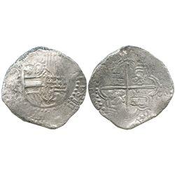 Potosi, Bolivia, cob 8 reales, 1618T, date at 9 o'clock, Grade 2.