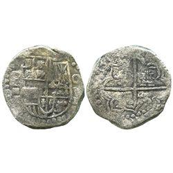 Potosi, Bolivia, cob 8 reales, 161(8)(T), denomination in three parts (O-V-III), quadrants of cross