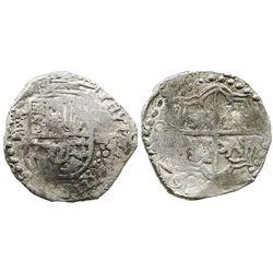 Potosi, Bolivia, cob 8 reales, (1)620T, date at 7 o'clock, quadrants of cross transposed, Grade 1.