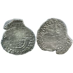 Potosi, Bolivia, cob 8 reales, 1620T, very odd shape, Grade 1, with early, hand-signed certificate.