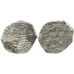 Potosi, Bolivia, cob 8 reales, 1621(T), quadrants of cross transposed, Grade 2.