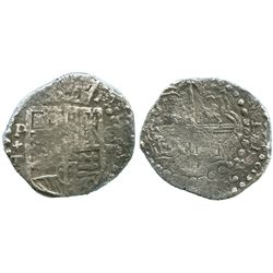 Potosi, Bolivia, cob 8 reales, Philip III, assayer T, Grade-2 quality (25 points), with early hand-s