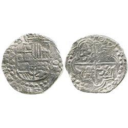 Potosi, Bolivia, cob 8 reales, Philip III, assayer T, quadrants of cross transposed, Grade 2.