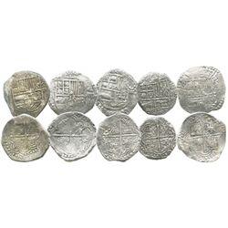 Lot of 5 Potosi, Bolivia, cob 8 reales, Philip III, assayers R, T or not visible, all Grade 1.