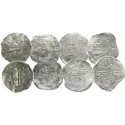 Lot of 4 Potosi, Bolivia, cob 8 reales, Philip II and III, assayers B (4th period), Q and M, all Gra