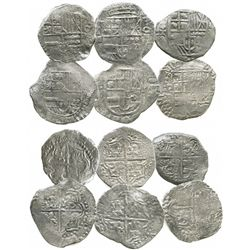 Lot of 6 Potosi, Bolivia, cob 8 reales, Philip III, assayers R, Q, M and T (where visible), all Grad