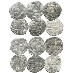 Lot of 6 Potosi, Bolivia, cob 8 reales, Philip III, assayers R, T or not visible, all Grade 2 (one w