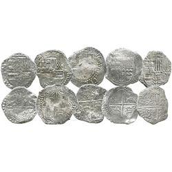 Lot of 5 Potosi, Bolivia, cob 8 reales, Philip III, various assayers (where visible), all Grade 2.