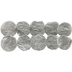 Lot of 5 Potosi, Bolivia, cob 8 reales, Philip III, various assayers (where visible), Grades 2 and 3
