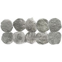 Lot of 5 Potosi, Bolivia, cob 8 reales, Philip III, various assayers (where visible), all Grade 3.