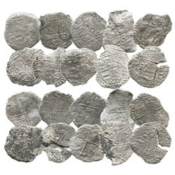 Lot of 10 Potosi, Bolivia, cob 8 reales, Philip III, various assayers (where visible), Grade 4 (some