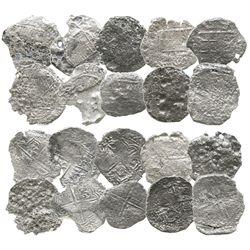 Lot of 10 Potosi, Bolivia, cob 8 reales, Philip III, assayers not visible, Grade 4 (some Grade-3 qua
