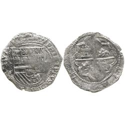 "Potosi, Bolivia, cob 4 reales, Philip II, assayer B (1st period, ""Lima style""), Grade 2, certificate"
