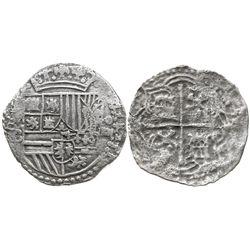 Potosi, Bolivia, cob 4 reales, Philip II, assayer B (4th period), no Grade, Atocha Research Collecti