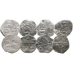 Lot of 4 Potosi, Bolivia, cob 4 reales, Philip III, assayers M or not visible, all Grade 1.