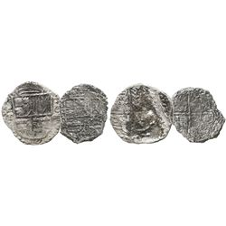 Lot of 2 Potosi, Bolivia, cob 4 reales, Philip III, assayers M and T, Grades 3 and 4, the former wit