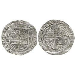 Potosi, Bolivia, cob 2 reales, Philip II, assayer R (Rincon) to left, rare first coinage of the mint