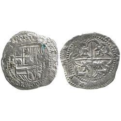 Potosi, Bolivia, cob 2 reales, Philip II, assayer B (3rd period), Grade-1 quality (no Grade on certi