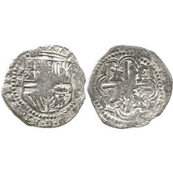 Potosi, Bolivia, cob 2 reales, Philip II, assayer R (Ramos), Grade 2.