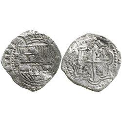 Potosi, Bolivia, cob 2 reales, Philip II, assayer B (4th period), Grade 1.