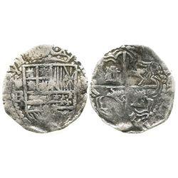 Potosi, Bolivia, cob 2 reales, Philip III, assayer RL (curved leg), Grade 2.
