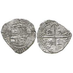 Potosi, Bolivia, cob 2 reales, Philip III, assayer Q, unique error with shield side struck from a 1R