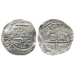 Potosi, Bolivia, cob 2 reales, 1617M, error legend, choice Grade-1 quality but no Grade on certifica