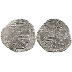 """Potosi, Bolivia, cob 2 reales, unique error date """"6161"""" with one 6 backwards (probably 1617 or 1618)"""