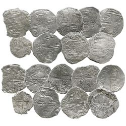 Lot of 9 Potosi, Bolivia, silver cobs (eight 8R and one 4R), assayers Q, T or not visible, Grades 1